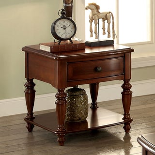 Furniture of America Remmy Classic 1-drawer Turned Walnut End Table