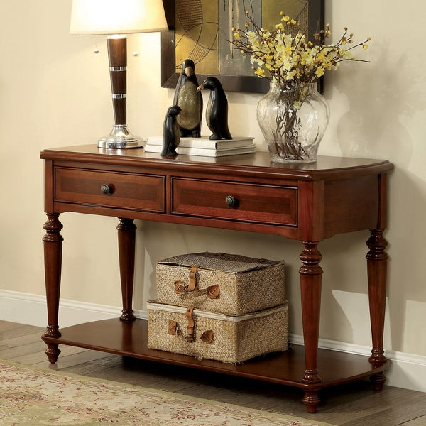 Furniture of america remmy classic 2 drawer turned walnut for Furniture of america sofa table