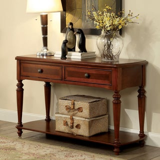 Furniture of America Remmy Classic 2-drawer Turned Walnut Sofa Table