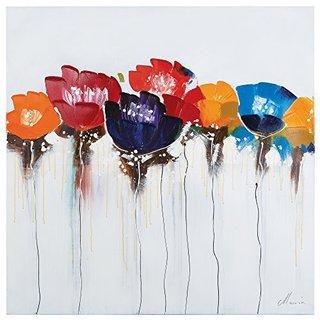 'Jeweled Poppies I' Original Hand-painted Wall Art
