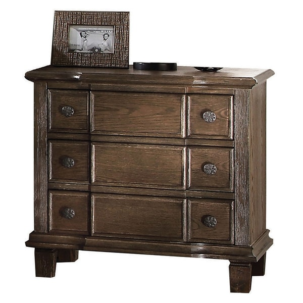 Delicieux Acme Furniture Baudouin Weathered Oak Finish Acacia 3 Drawer Nightstand