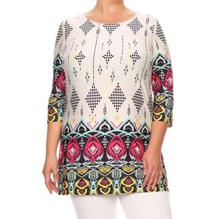 Women's Plus Size Tapestry Pattern Tunic