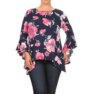 Women's Plus Size Navy Floral Pattern Tunic