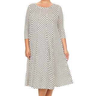 Women's White Rayon Plus-size Polka Dot Dress