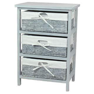Rustic Gray Wooden Storage Cabinet Chest with 3 Fabric Lined Maize Basket Style Drawers