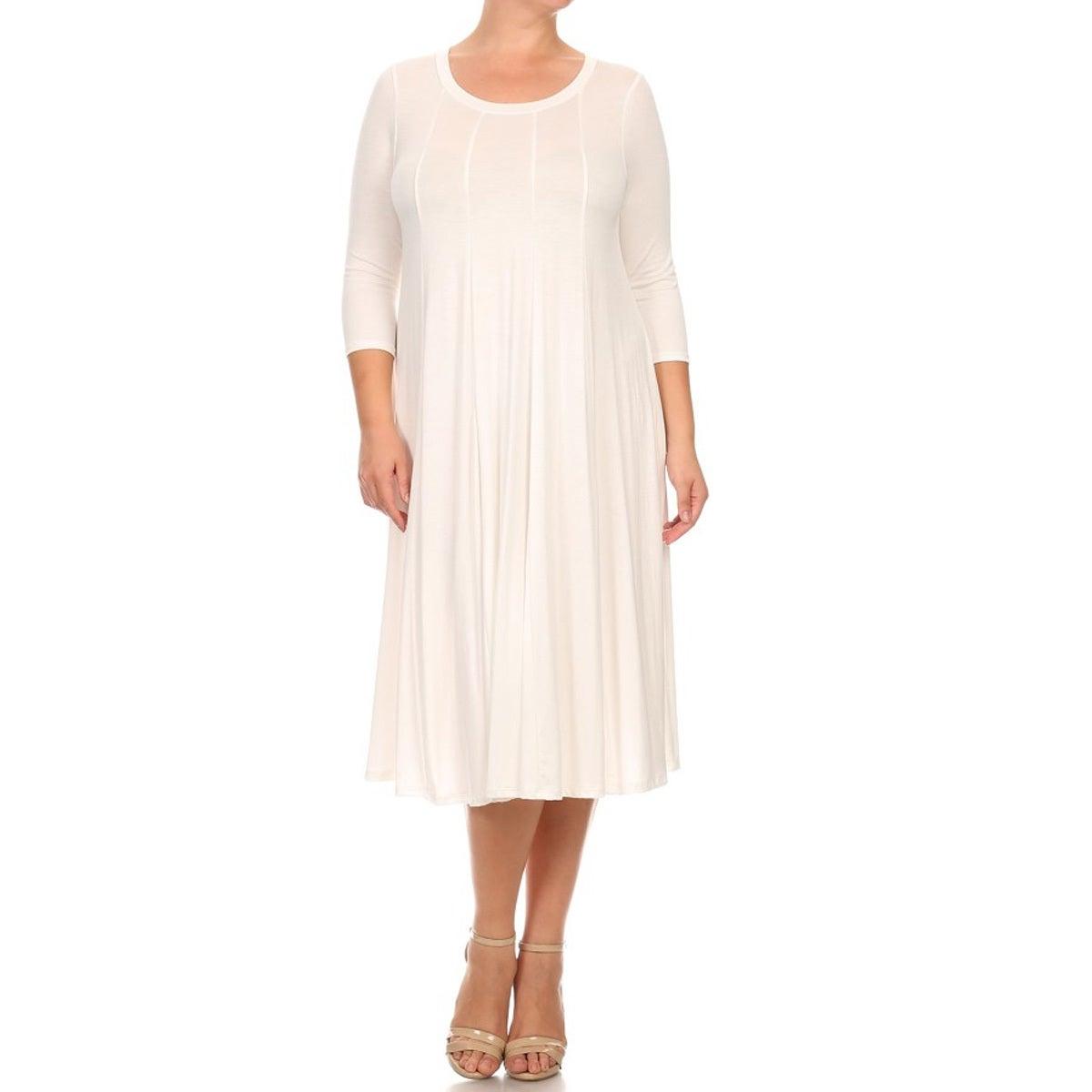 Women-039-s-Plus-Size-Solid-Color-Pleated-Dress thumbnail 7