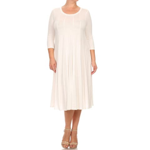 Women's Plus Size Solid Color Pleated Dress