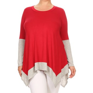 Women's Plus Size Solid Color Two-tone Tunic
