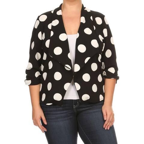 Women's Polka Dot Black and White Spandex Blazer Jacket