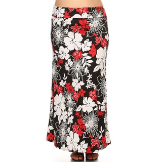 Women's Red/Black/White Floral Pattern Spandex Blend Maxi Skirt