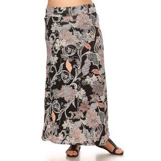 Women's Floral Pattern Spandex Maxi Skirt