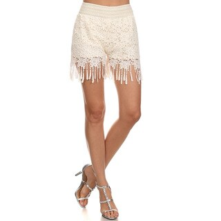 Women's Fringed White Crochet Lace Shorts