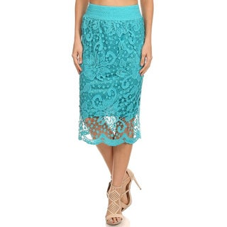 Women's Solid Crochet Lace Pencil Skirt