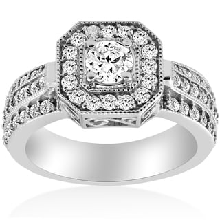14k White Gold 1 ct TDW Diamond Cushion Halo Engagement Ring 14K White Gold (I-J,I2-I3)