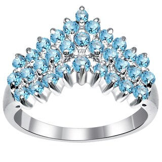 Orchid Jewelry Sterling Silver 1 5/9 Carat Blue Topaz Prong Set Chevron Ring