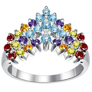 Orchid Jewelry Sterling Silver 1 3/8 Carat Multi Gemstones Prong Set Chevron Ring For Women
