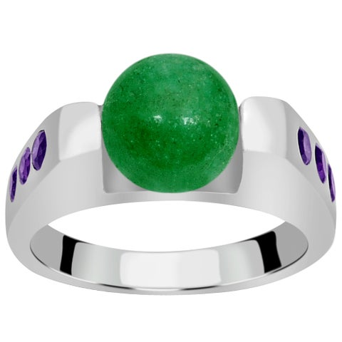 Orchid Jewelry Sterling Silver 4 1/3 Carat Green Aventurine & Amethyst Gemstone Ring