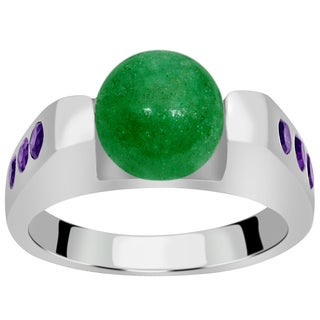 Orchid Jewelry 925 Sterling Silver 4 1/3 Carat Green Aventurine and Amethyst Fashion Ring|https://ak1.ostkcdn.com/images/products/14345503/P20922429.jpg?_ostk_perf_=percv&impolicy=medium