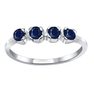 Orchid Jewelry 925 Sterling Silver 0.60 Carat Sapphire Ring Band
