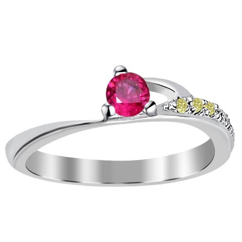 Rubellite, Diamond Sterling Silver Round Halo Ring by Orchid Jewelry