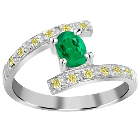 Emerald, Diamond Sterling Silver Oval Engagement Ring by Orchid Jewelry