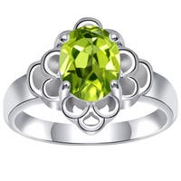 Orchid Jewelry 925 Sterling Silver 1 6/7 Carat Peridot Engagement Ring