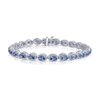 Divina Sterling Silver 6 1/2ct TDW Oval Tanzanite and Diamond Accent Fashion Bracelet (I-J, I3)