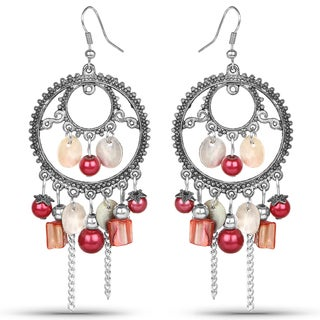 Liliana Bella Oxidized Metal and Pink Crystals Chandelier Earrings
