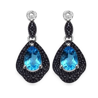 iNatemy .925 Silver Dangle Earrings with Blue Topaz; 1.7 Carat