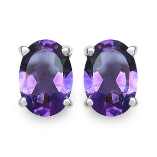 iNatemy .925 Sterling Silver Oval Shaped Earrings with 5.40ct Amethyst