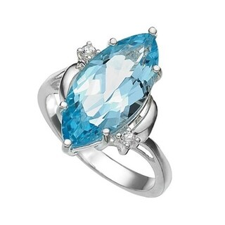 iNatemy Platinum over .925 Sterling Silver, Blue & White Topaz Ring