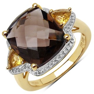 iNatemy 14K Yellow Gold Plated Smoky Topaz Ring; Size 7