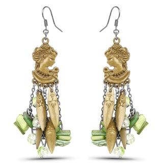 Liliana Bella Oxidized Goldtone Green Chandelier Earrings