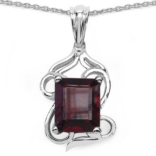 iNatemy .925 Sterling Silver Fancy Pendant with 5.10ct Genuine Garnet