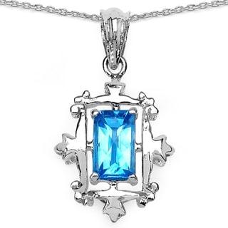 .925 Sterling Silver Pendant by iNatemy with Fancy Shape Swiss Blue Topaz