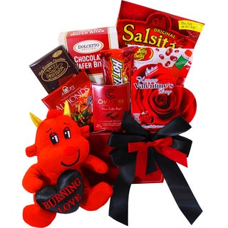 Art of Appreciation Gift Baskets 'You Little Devil!' Hot and Sweet Snack Valentine's Gift Basket with Teddy Bear