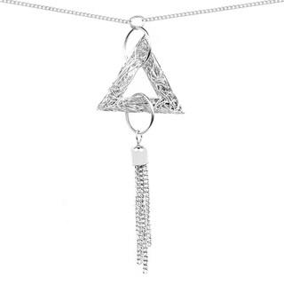 Liliana Bella Women's Silver-colored Metal Handmade Triangle Tassel Pendant