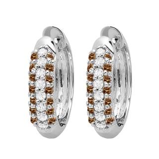 Elora 10k White Gold 1/3ct TDW Champagne and White Diamond Leverback Hoop Earrings (I-J, I2-I3)