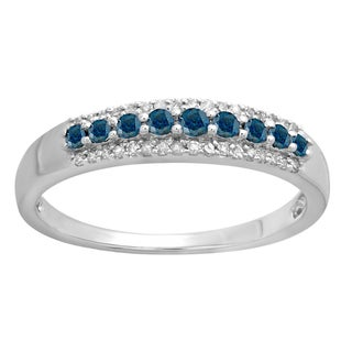 Elora 10k Gold 3/8ct TDW Round Blue and White Diamond Wedding Ring (I-J, I2-I3)