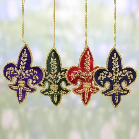 Set of 4 Handmade Embroidered 'Fleur de Lis Christmas' Ornaments (India)