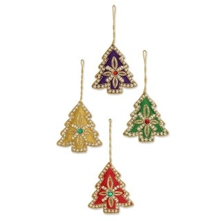 Set of 4 Handmade Beaded 'Colorful Trees' Ornaments (India)