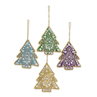 Set of 4 Handmade Embroidered 'Colorful Holiday' Ornaments (India)