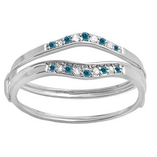 Elora 10k Gold 1/8ct TDW Round Blue and White Diamond Enhancer Guard Wedding Band (I-J, I2-I3)