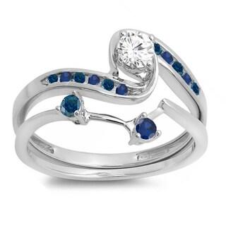 Elora 10k Gold 1/2ct TDW Blue Diamond and Sapphire Bridal Ring Set (H-I, I1-I2)