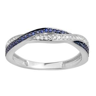 Elora 14k Gold 1/4ct TDW Round White Diamond and Blue Sapphire Stackable Wedding Ring (I-J, I2-I3)