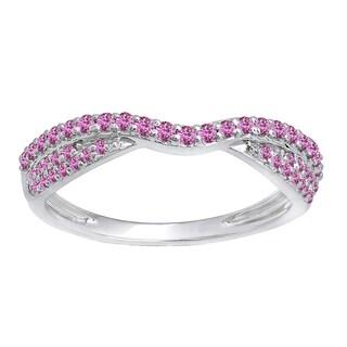 Elora 14k Gold 1/3ct TGW Round Pink Sapphire Anniversary Wedding Stackable Ring