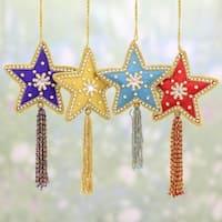 Set of 4 Handmade Beaded 'Glistening Stars' Ornaments (India)