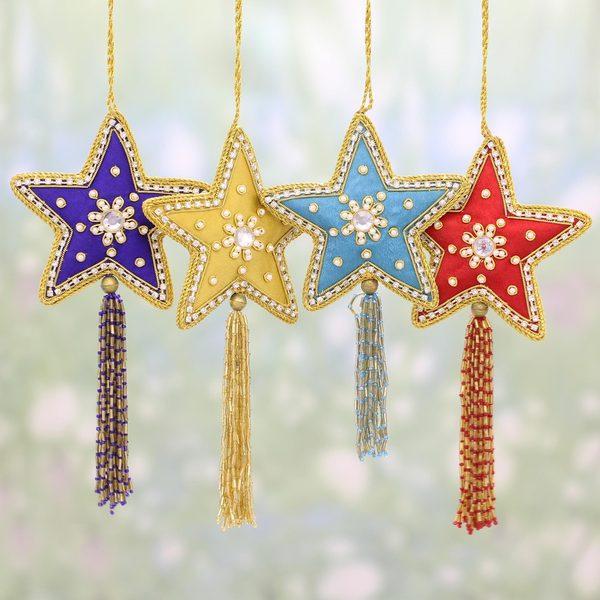 Handmade Glistening Stars Beaded Ornaments, Set of 4 (India). Opens flyout.