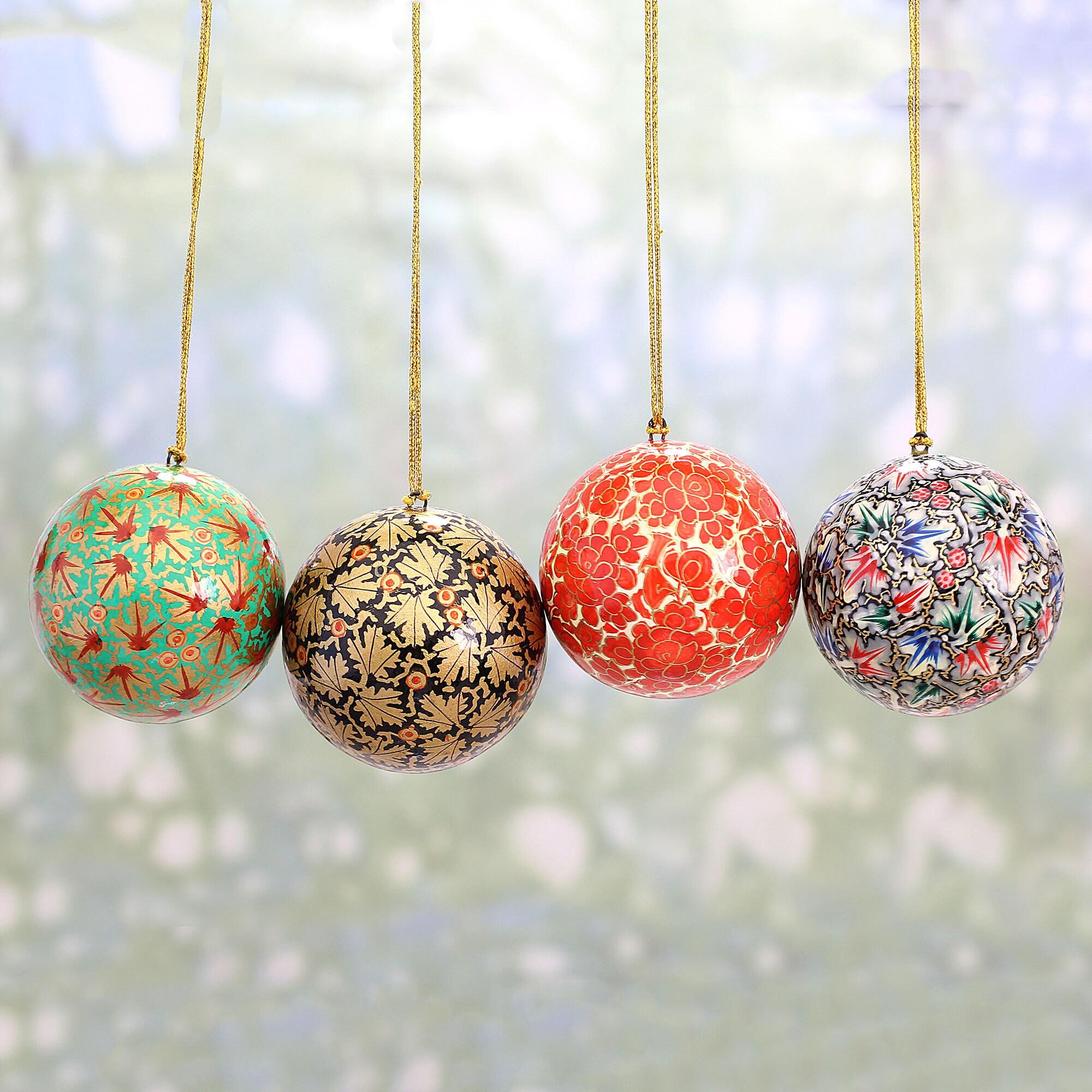 Paper Mache Christmas Ornament.Handmade Alluring Baubles Paper Mache Ornament Set Of 4 India