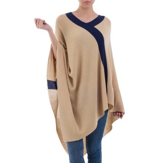 Handcrafted Acrylic Alpaca Blend 'Tan and Navy Beam of Light' Poncho (Peru)